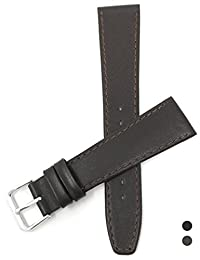 14mm Brown with Stitching, Genuine Leather Slim Watch Strap Band With Anti-Allergic Lining, Silver Coloured Buckle, Unisex
