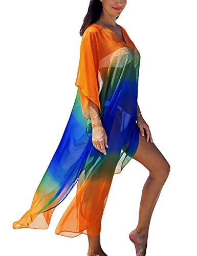 Swimwear Beach Dresses - Bsubseach Women Colorful See Through Chiffon Swimsuit Cover up for Swimwear V Neck Beach Long Dress