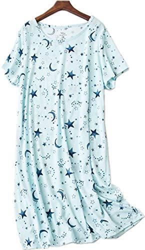 Luckytung Women's Nightgown Cotton Print Nightskirt Soft Tee Shirt Sleepwear CSQ01-BLUESTAR-S