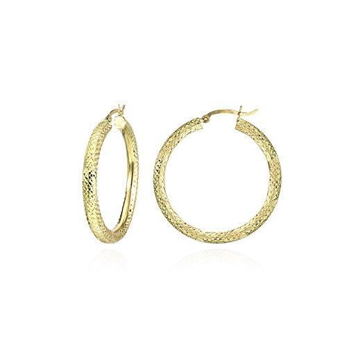 14K Gold Diamond-cut 3x25mm Lightweight Medium Round Hoop Earrings by Hoops & Loops