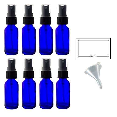 2 oz Cobalt Blue Glass Boston Round Fine Mist Spray Bottle (8 pack) + Funnel and Labels for essential oils, aromatherapy, food grade, bpa free ()