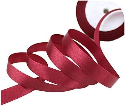 kawayi-桃 (25ヤード/ロール)片面サテンリボンウェビング装飾ギフトクリスマスリボン(6/10/12/15/40 / 50mm)-Burgundy-40mm