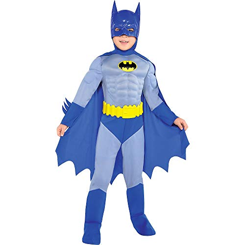 Costumes USA The Brave and the Bold Classic Batman Muscle Costume for Boys, Size Small, Includes a Jumpsuit and a -
