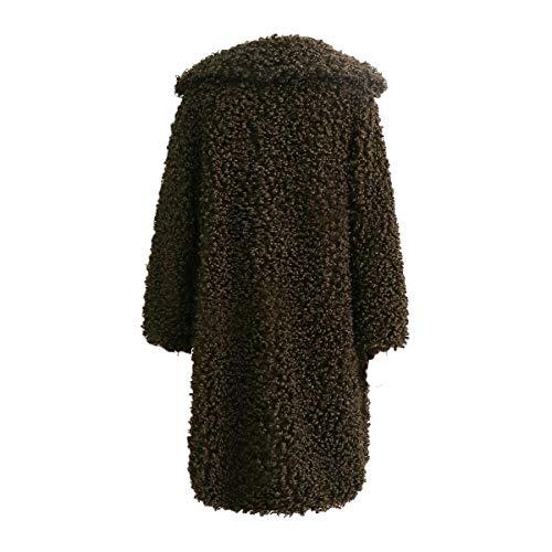 Revers Fausse Hiver M Fourrure Long Taille Color Plus Veste Size Green Outwear Cardigan Manteau Femmes Fleece 10T1qUw