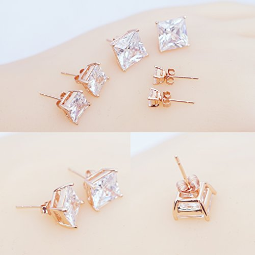 Plated Steel Square Princess CZ Stud Earrings Set,3mm-8mm Pairs