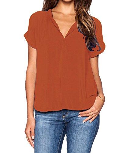 LILBETTER Women Chiffon Blouse V Neck Short Sleeve Top Shirts(Orange S)