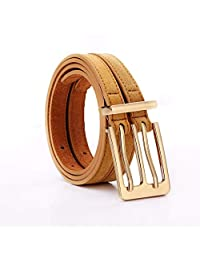 Dertring Double Buckle Belt, Double Pin Buckle Wild Leather Double Belt (Color : G, Size : M)