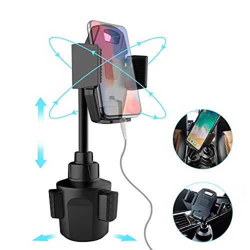 Phone Cup Holder for Car, Universal Rotatable Base Adjustable Pole Body Height, Eeasy Installation,Secure Stable Cellphone Cup Holder for iPhone Sumsung Galaxy