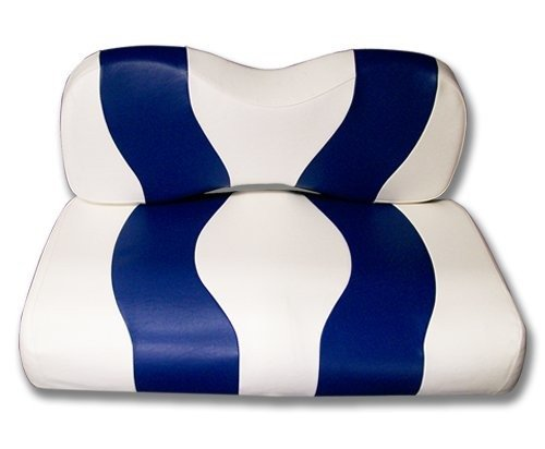 (Madjax Wave 2007-Up White/Blue Two-Tone Front Seat Cover for Yamaha G29 Drive Golf Carts)