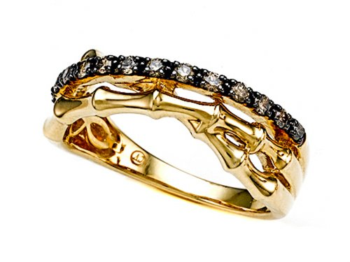 uartz Bamboo Ring 14k Yellow Gold Plated Silver Size 7 ()