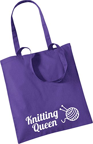 Pretty Purple Pretty Little QUEEN Bag Tote Little Stickers KNITTING TrTCxwq8