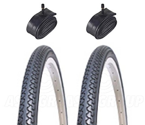 With Schrader Tubes 26 x 1 3//8 City // Town 2 Bicycle Tyres Bike Tires