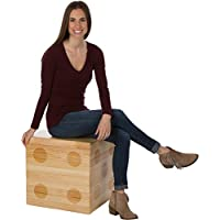19 Square Pine Wood Dice Accent Table & Footstool by Trademark Innovations