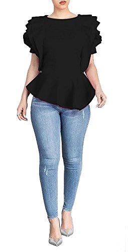 (PrettySoul Women's Elegant Round Neck Sleeveless Flounce Ruffle Hem Flower Peplum Blouse Shirt Tops Clubwear Black,)
