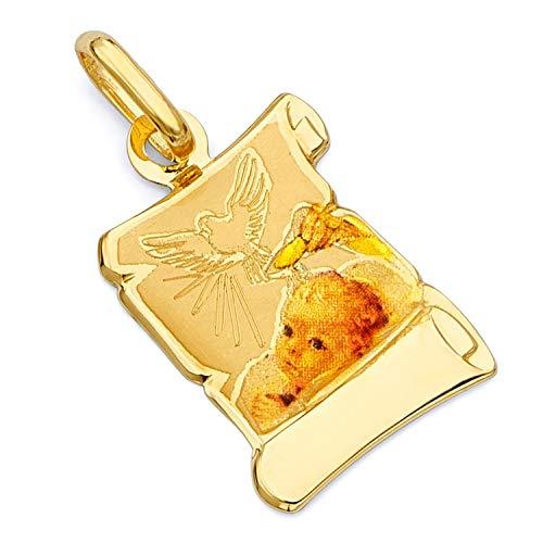 Enamel Religious Charm - 14k Yellow Gold Religious Baptism Enamel Picture Charm Pendant (20 x 15 mm)