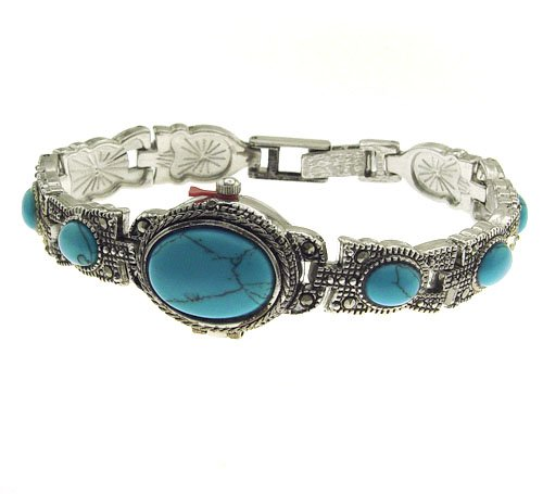 EXCLUSIVE-Ladies-Vintage-Style-Marcasite-Analog-Watch-with-Turquoise-Gemstone