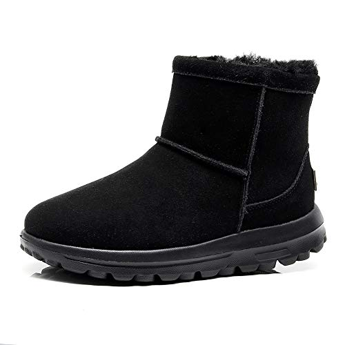 Boots Dress Zip Womens (hello momoya Sheepskin Winter Boots Lightweight Anti-Slip Short Cozy Outdoor Hiking Walking Cow Suede Warm Shoes Zip Real Fur Lined Thick Wool Shoes Causal Dress Comfort Snow Boots for Women)