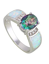 Wedding Rings Rainbow Mystic Topaz Opal 925 Stamp Silver Jewelry Rings for Womens Size 5 6 7 8 9 10 R609