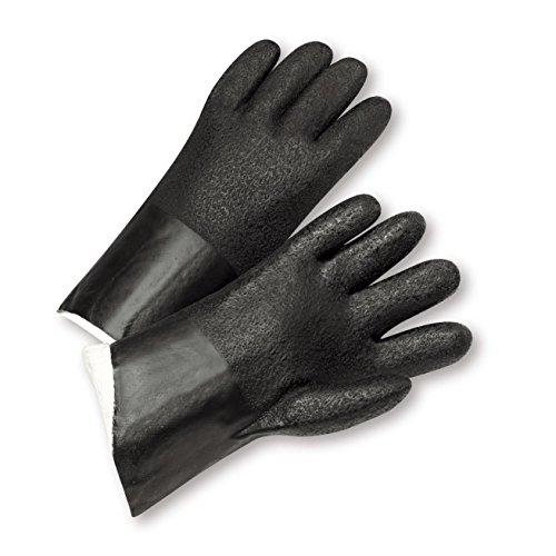 West Chester J210 Standard Acid Grip PVC Jersey Lined Gloves, Black, Size 10 (Pack of 12)