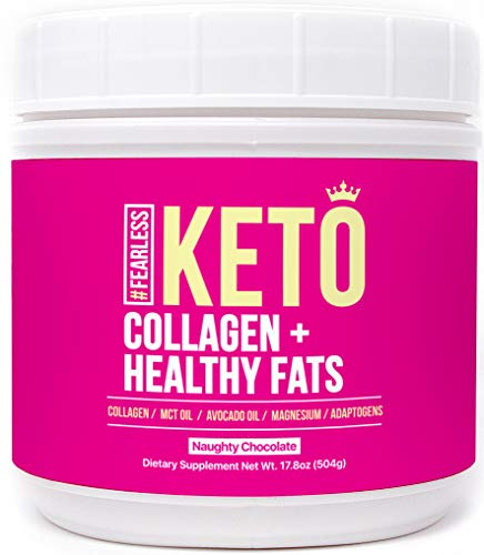 Fearless Keto Protein Shake Powder - 17.8 oz of Chocolate Low Carb Meal Replacement with Ketogenic MCT Oil, Avocado Oil, Mushroom Adaptogens, Magnesium & Collagen Peptides for a Perfect Keto Coffee!