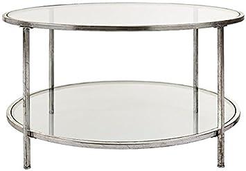 Home Decorators Collection Bella Glass Coffee Table, 18 Hx34 Diameter, Aged Gold