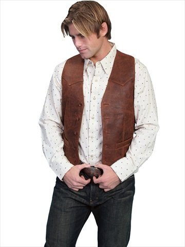 Scully 503-60-48L-L Mens Leather Wear Lamb Western Vest , Brown - 48L-L ()