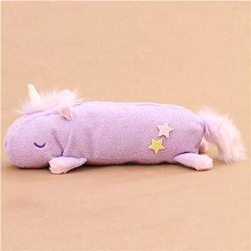 Lindo bolso estuche lápices peluche peludo unicornio violeta claro de Japón