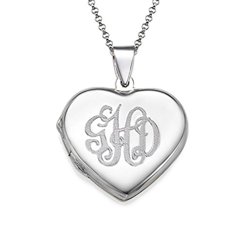 (MyNameNecklace Personalized Heart Monogram Open Locket - Custom Made with Personal Initials - Gift for Her)