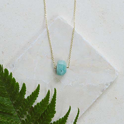 (Small amazonite nugget crystal necklace in 14k gold fill - 16