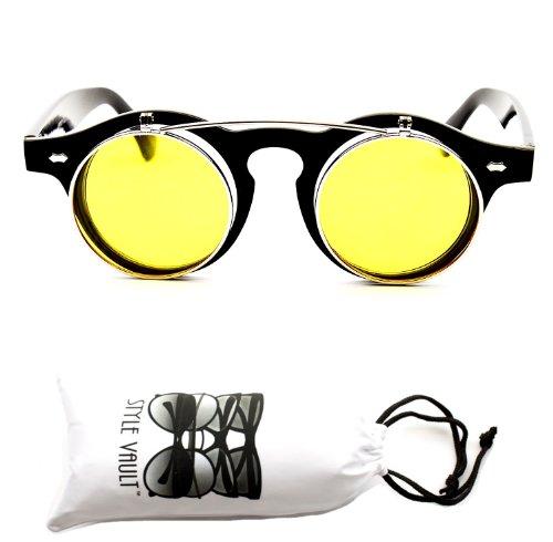 196eb7e09ebf W83-vp Flip up Sunglasses (Co Black silver-yellow