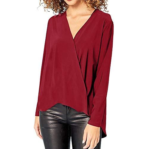 Longues V Rouge Blouse T 2018 Bureau Femmes Femme Manches Shirt Automne col en nbsp; de pour p1x7wS4zq