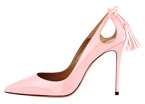 Aooar Femmes Bout Pointu Gland Robe Stiletto Pompes Chaussures Rose Brevet