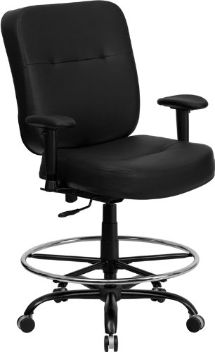Flash Furniture HERCULES Series Big & Tall 400 lb. Rated Black Leather Ergonomic Drafting Chair with Adjustable Arms by Flash Furniture