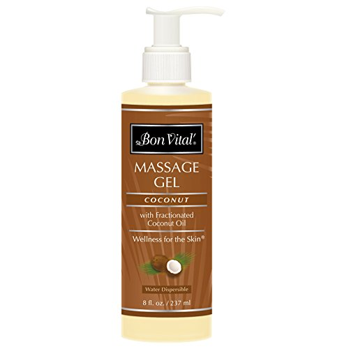 Bon Vital Coconut Massage Gel Made with 100% Pure Fractionated Coconut Oil, Great for at-Home Use in Relaxing Back Massages & Neck Massages, Moisturizes Skin Without Clogging Pores, 8 Ounce Pump