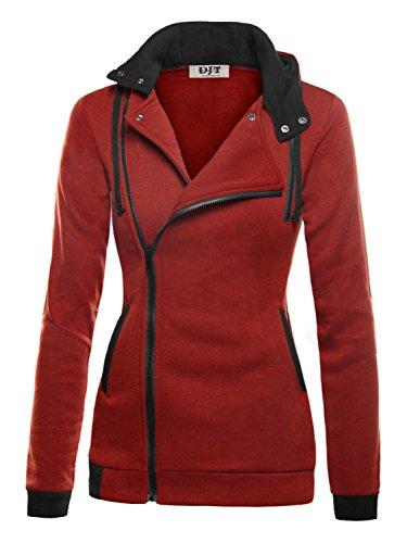 DJT Women's Oblique Zipper Slim Fit Hoodie Jacket Large Dark Red (Red Hoodie Sweatshirt Jacket)