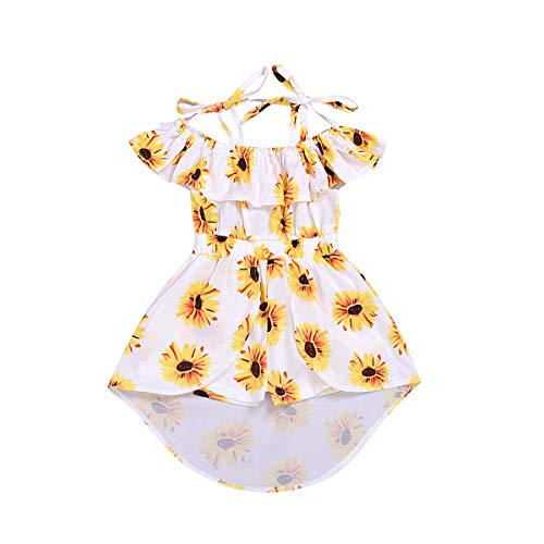 Baby Girl Sunflower Dress Toddler Girls Ruffled One-Piece Halter Skirt Floral Sleeveless Summer Sundress (Sunflower, 4-5 Years)