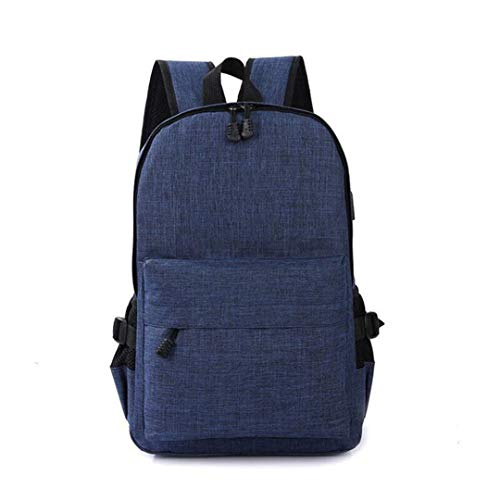 Bag Bag USB Backpack Dark Blue Simple Canvas Men's Theft Anti nqaZww0P