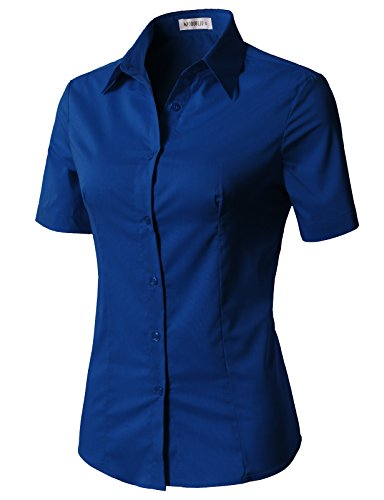 - CLOVERY Women's Short Sleeve Slim Fit Button Down Shirt with Stretch RoyalBlue L