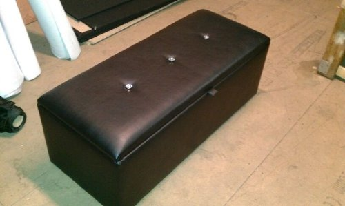 New Faux PU Leather Brown Large Ottoman Liftup Storage Toy Box Chest Foot Stool