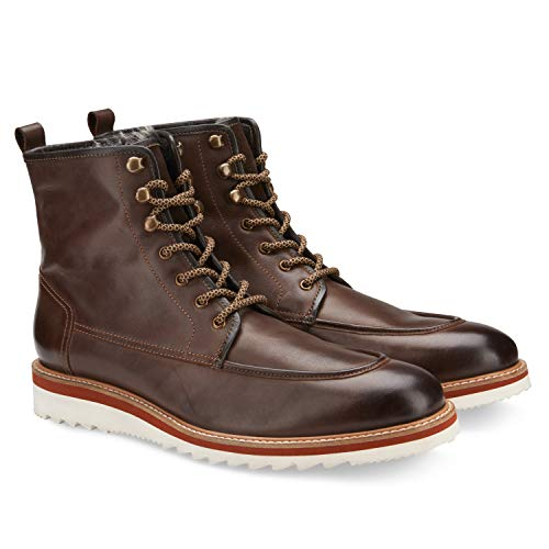 Vintage Foundry Co. The Jimara Men's Fashion Hand-Crafted Fur Lining Casual Chukka Leather High-Top Lace-up Boots, Moc-Toe, Ridged EVA Wedge Heel Platform;