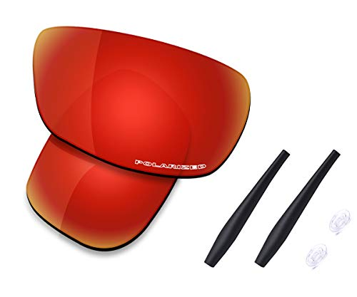 Saucer Premium Replacement Lenses & Rubber Kits for Oakley Crosshair 2.0 OO4044 Sunglasses High Defense - Fire Red Polarized