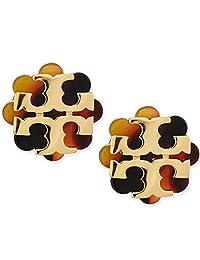 Tory Burch Logo Flower Resin Stud Earring - Tortoise/Gold