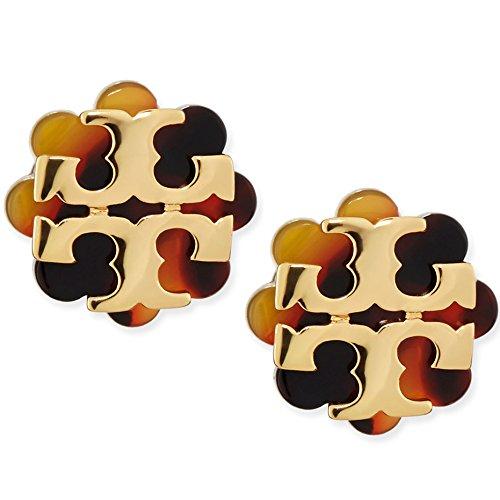 Tory Burch Logo Flower Resin Stud Earring - Tortoise/Gold ()