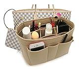 Felt Insert Fabric Purse Organizer Bag, Bag Insert In Bag with Zipper Inner Pocket Fits Neverfull Speedy 8010 Beige S