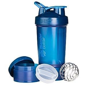 BlenderBottle ProStak sistema con 22-ounce botella de almacenamiento de y Twist N 'Lock, Marino, 22 oz, 1