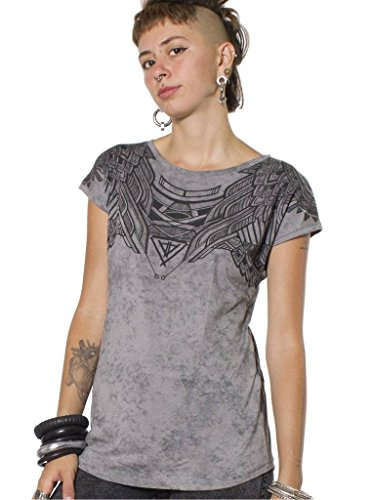 Women's Printed T-Shirt - Exclusive Street Art Owl Design - Crew Neck Cotton Top - in Grey - Large