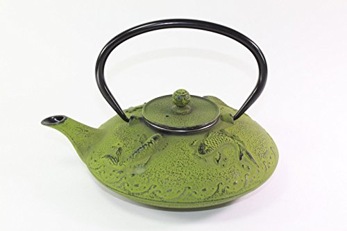 Japanese Antique 24 Fl Oz Green Fancy Carp Koi Fish Cast Iron Teapot Tetsubin with Infuser