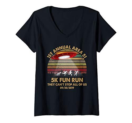 Womens Retro Vintage 1st Annual Area 51 5K Fun Run SEPT 20 2019 V-Neck (Runner 5 Halloween Shirt)