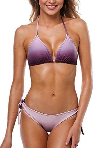 (Vegatos Women Halter Bikini Swimsuit Gradient Two Piece Bathing Suit Purple S)