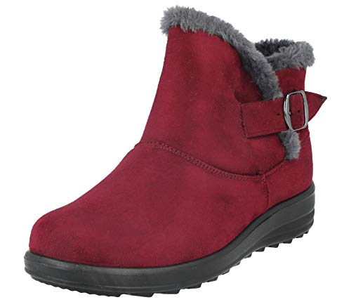 Cushion Casual 3 Faux Faux Fur Warm Buckle Suede Wine Ladies Walk Lined 8 Comfort Shoe Ankle Boot Size 1wqdgn8